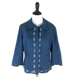 Boden Women's Linen Blazer Tweed Look Size 10 Blue